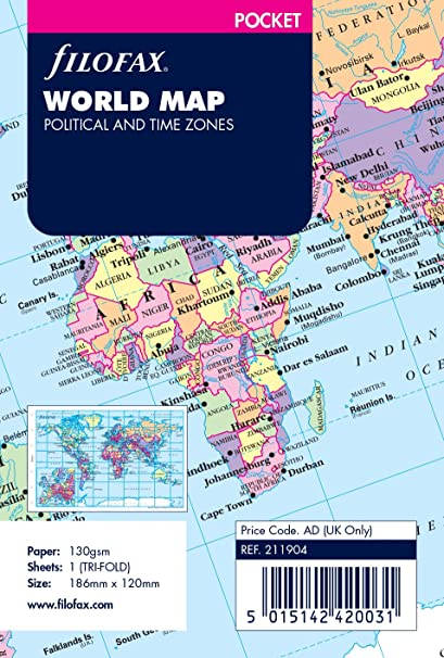 Amazon filofaxr world map political and time zones pocket filofaxr world map political and time zones pocket 211904 gumiabroncs Images