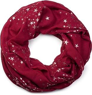 styleBREAKER écharpe snood avec motif imprimé d étoiles métalliques  scintillantes un peu partout, écharpe e2cf7155377