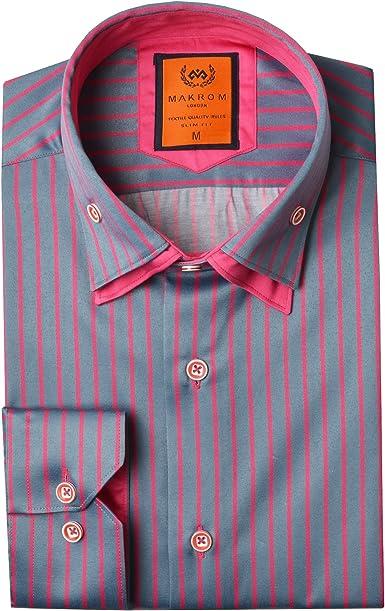 Oscar Banks - Camisa para hombre de doble cuello a rayas Gris ...