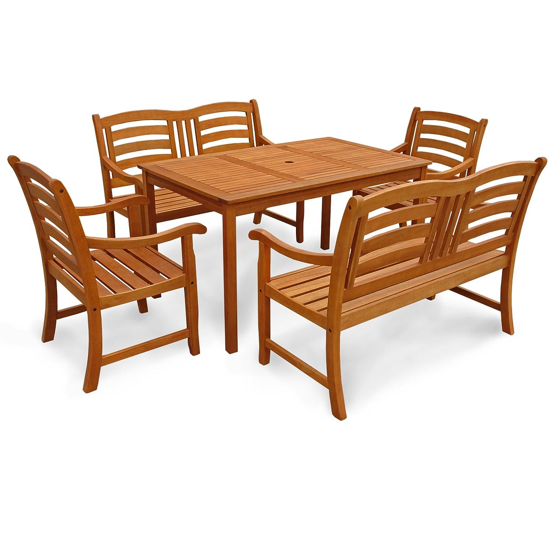 indoba® IND-70290-MOSE5GB2 - Serie Montana - Gartenmöbel Set 5-teilig aus Holz FSC zertifiziert - 2 Gartenstühle + 2 Gartenbänke 2-Sitzer + rechteckiger Gartentisch mit Schirmöffnung