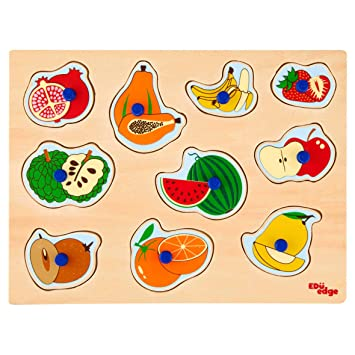 Eduedge FruIts Puzzle Printed on high Quality Plywood with Child Safe Inks. Smooth Edges and Corners . Pencil Grip knobs.