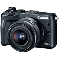 """Canon 1724C011 Mirrorless Camera EOS M6 24.2 MP with Lens, 15 mm, 45 mm, 3"""" Touchscreen LCD, 16:9, 3X Optical Zoom, Optical (IS), E-TTL II, 6000 x 4000 Image, 1920 x 1080 Video, HDMI, Black"""