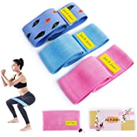 June & Juniper Resistance Booty Bands Set: 3+1 Non-Slip Fabric Exercise Bands for Butt Leg & Arm Workout. Perfect Gym Home & Travel Hip Bands for Women. Exercise Program and Carry Bag Included.