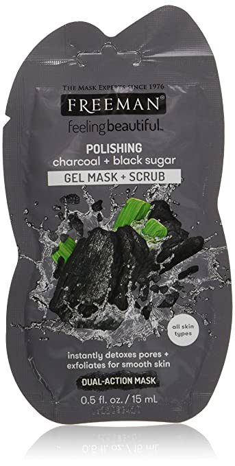 Freeman Feeling Beautiful Facial Polishing Mask, Charcoal & Black Sugar 1 ea (Pack of 4) 2 Pack - SoSimple Daily Face Cleanser  1.76 oz