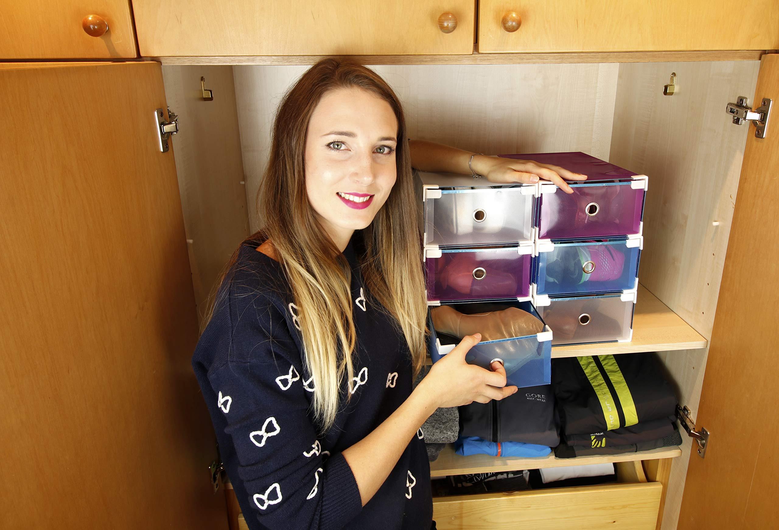 6 scatole Resistenti salvaspazio Porta Scarpe (Uomo, Donna) My Box TO Store Contenitore in plastica Trasparente, 3 Colori (Bianco, Blu, Viola) per Migliorare l\'organizzazione del Tuo Armadio