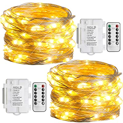 Koopower 2 Pack Battery Operated String Lights 16ft 50 Led Outdoor String Lights Waterproof Silver Copper Wire Light Decorative Fairy Lights (Warm White, Remote and Timer) : Garden & Outdoor