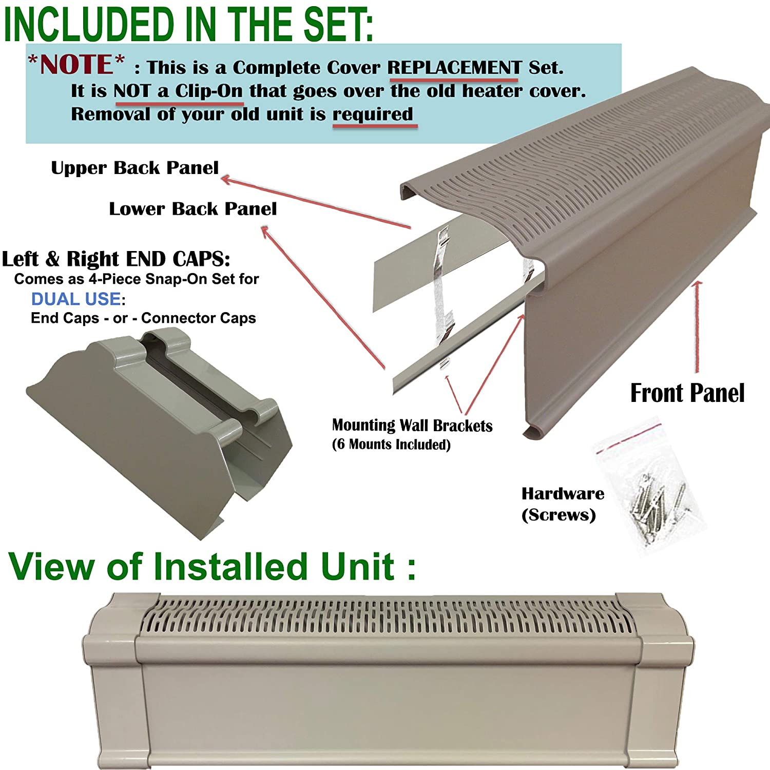 Baseboard Heat Covers, Better Baseboard Heater Covers WITH Left Right END CAPS Direct REPLACEMENT Set FEATHER GRAY 4 Feet