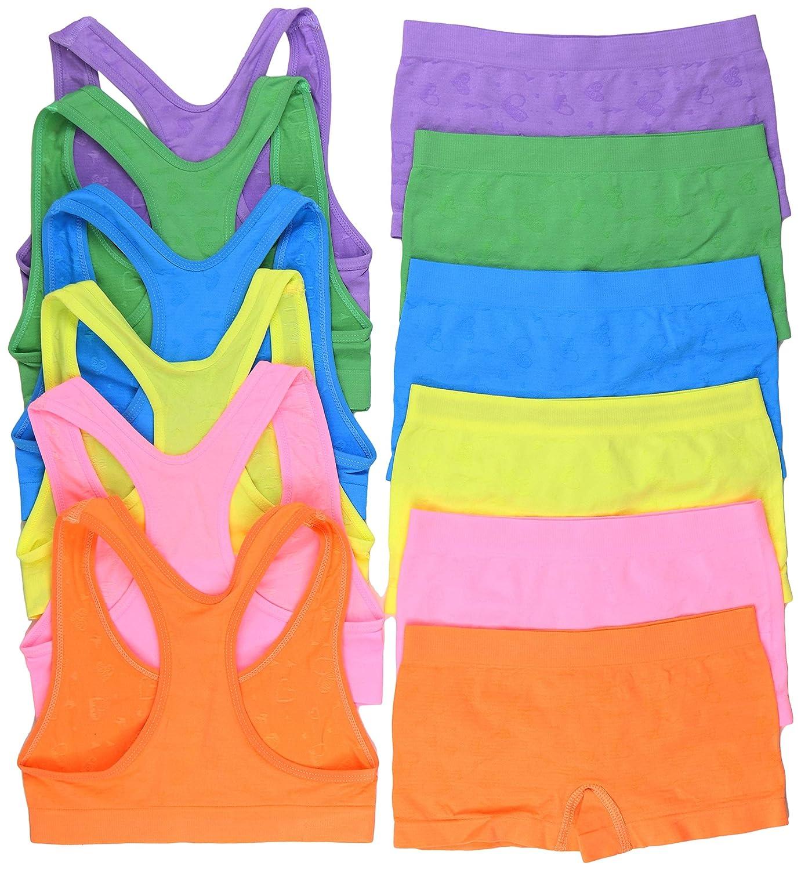 ToBeInStyle Girls Pack of 6 Set of Racerback Bras and Boyshorts or Bikinis