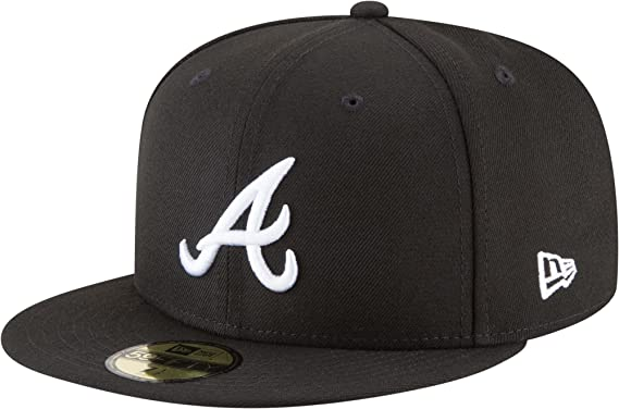 42c4604dd62c2 New Era 59Fifty Hat MLB Basic Atlanta Braves Black White Fitted Baseball Cap  (7