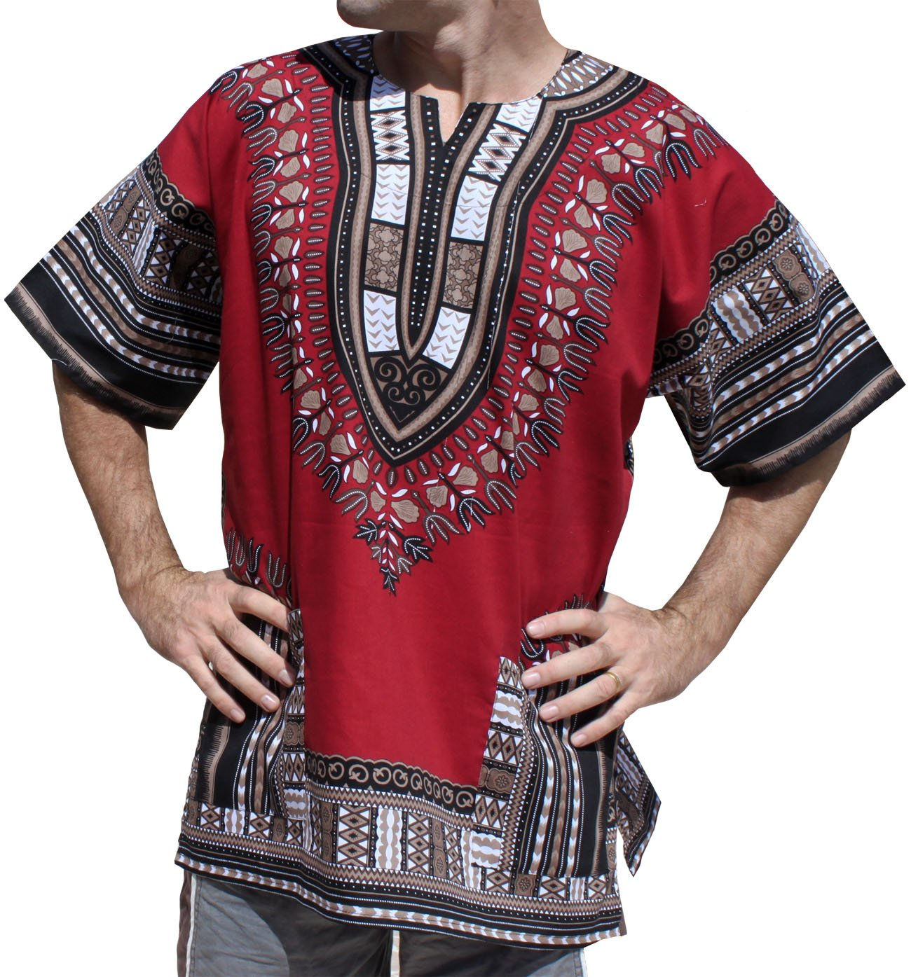 Raan Pah Muang Unisex African Bright Dashiki Cotton Shirt Variety Colors CA_AMZvariant15060MDL
