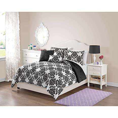 Amazon.com: PH 4 Piece Girls Black Damask Comforter Twin Set ...