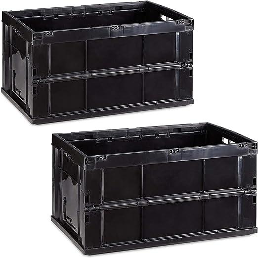 Relaxdays Pack de 2 Cajas de Almacenaje Plegables 60 L, Plástico, Negro, 31.5 x 58.5 x 40 cm: Amazon.es: Hogar