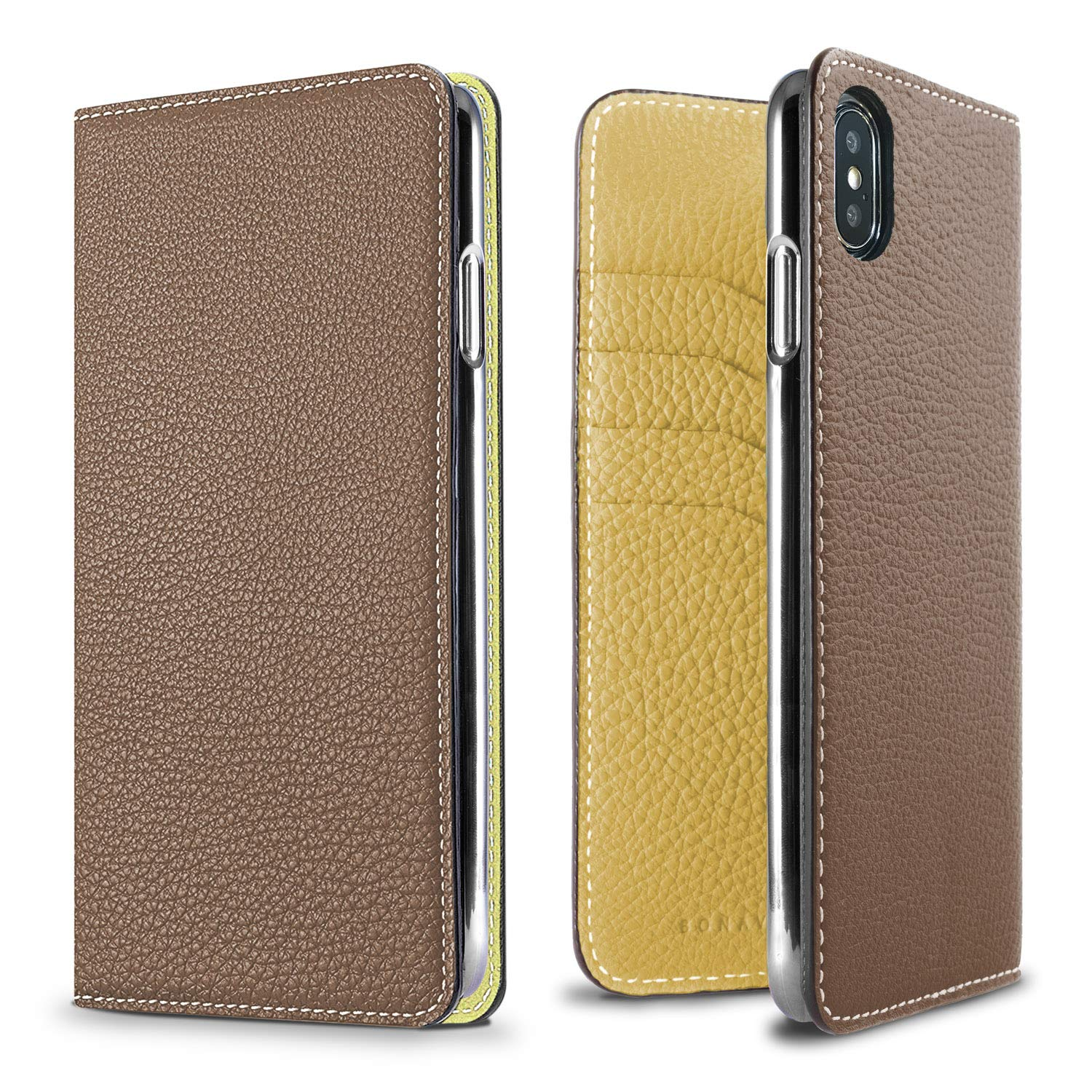 BONAVENTURA Diary Leather Wallet iPhone Case [Compatible with iPhone Xs Max, Etoupe & Yellow]