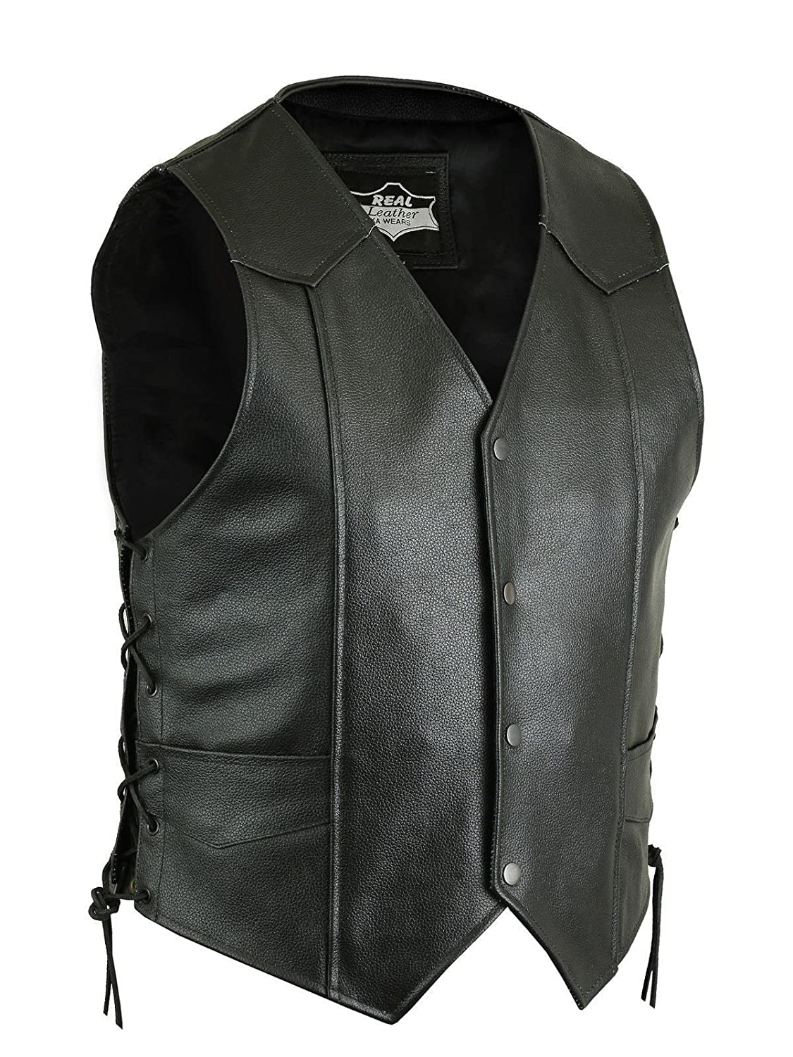 MENS BIKER STYLE VEST REAL COW LEATHER WHITE MOTORCYCLE WAISTCOAT
