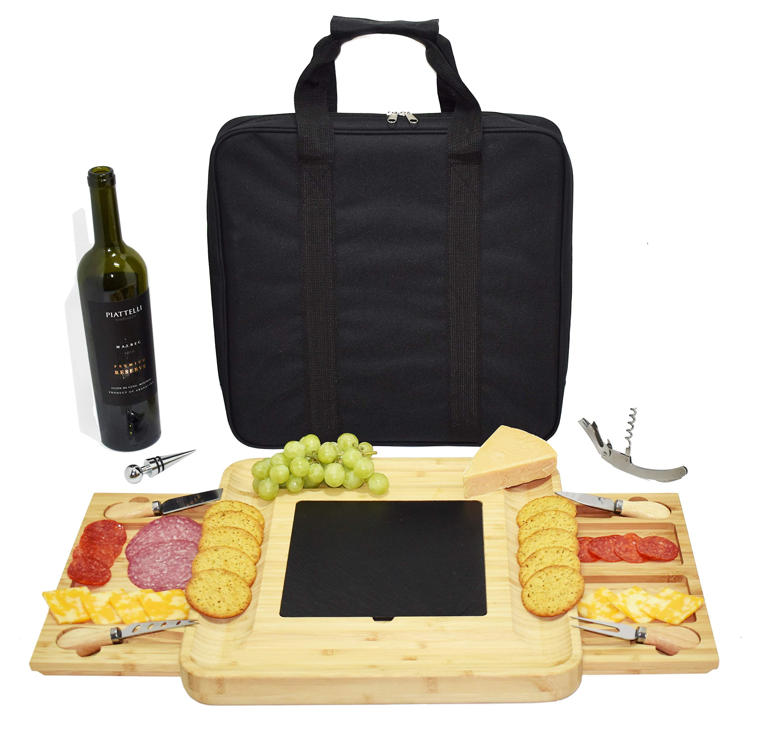 Cheese Board With Knife Set And Carrying Case I Charcuterie Board I Serving Tray I Cutlery Set I Large Size I Wine Bottle Opener And Wine Stopper by SKOTTY'S