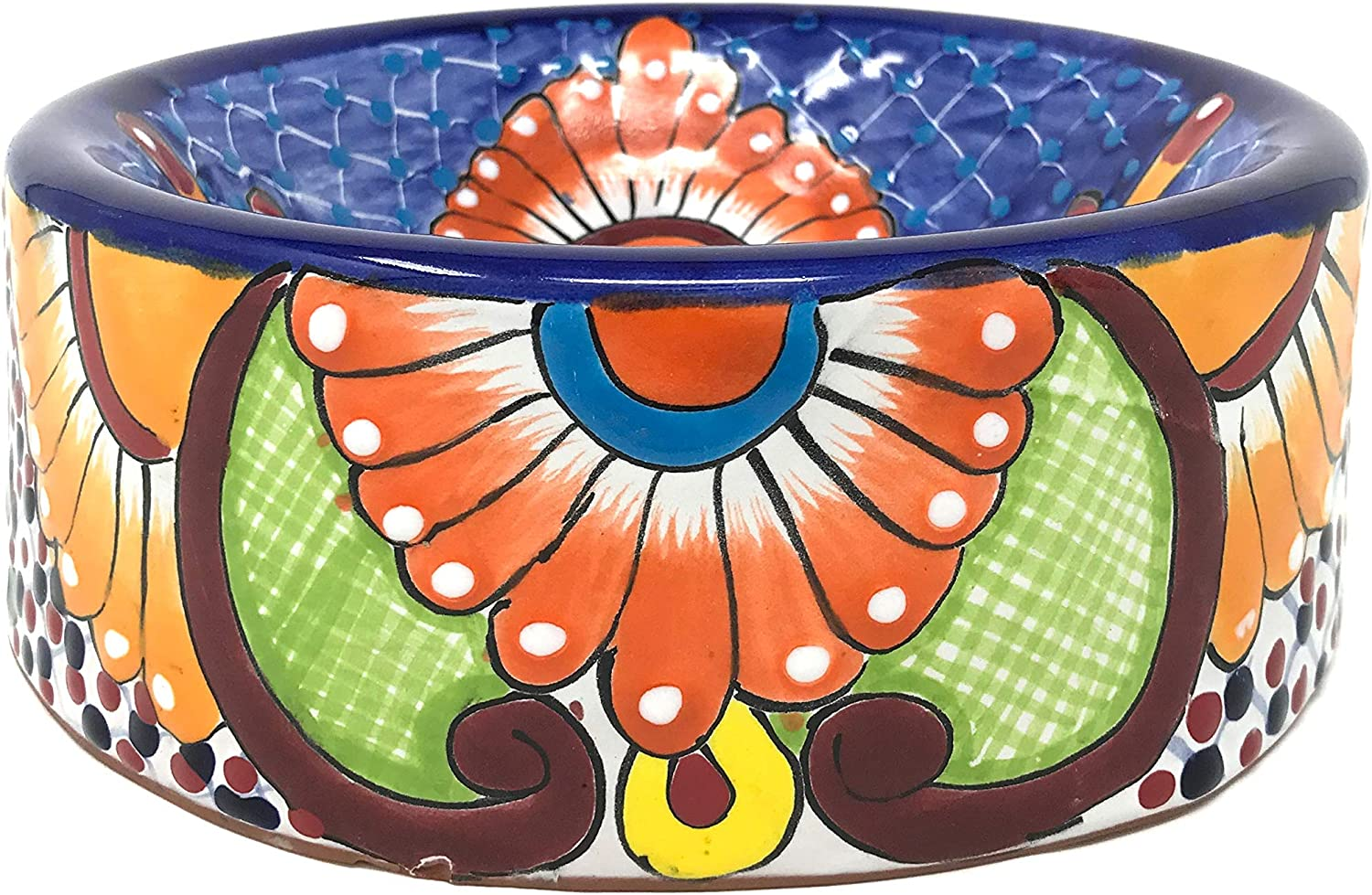 Amazon Com Mexican Talavera Pottery 9 Inch Round Hand Painted Large Dog Pet Bowl Home Kitchen