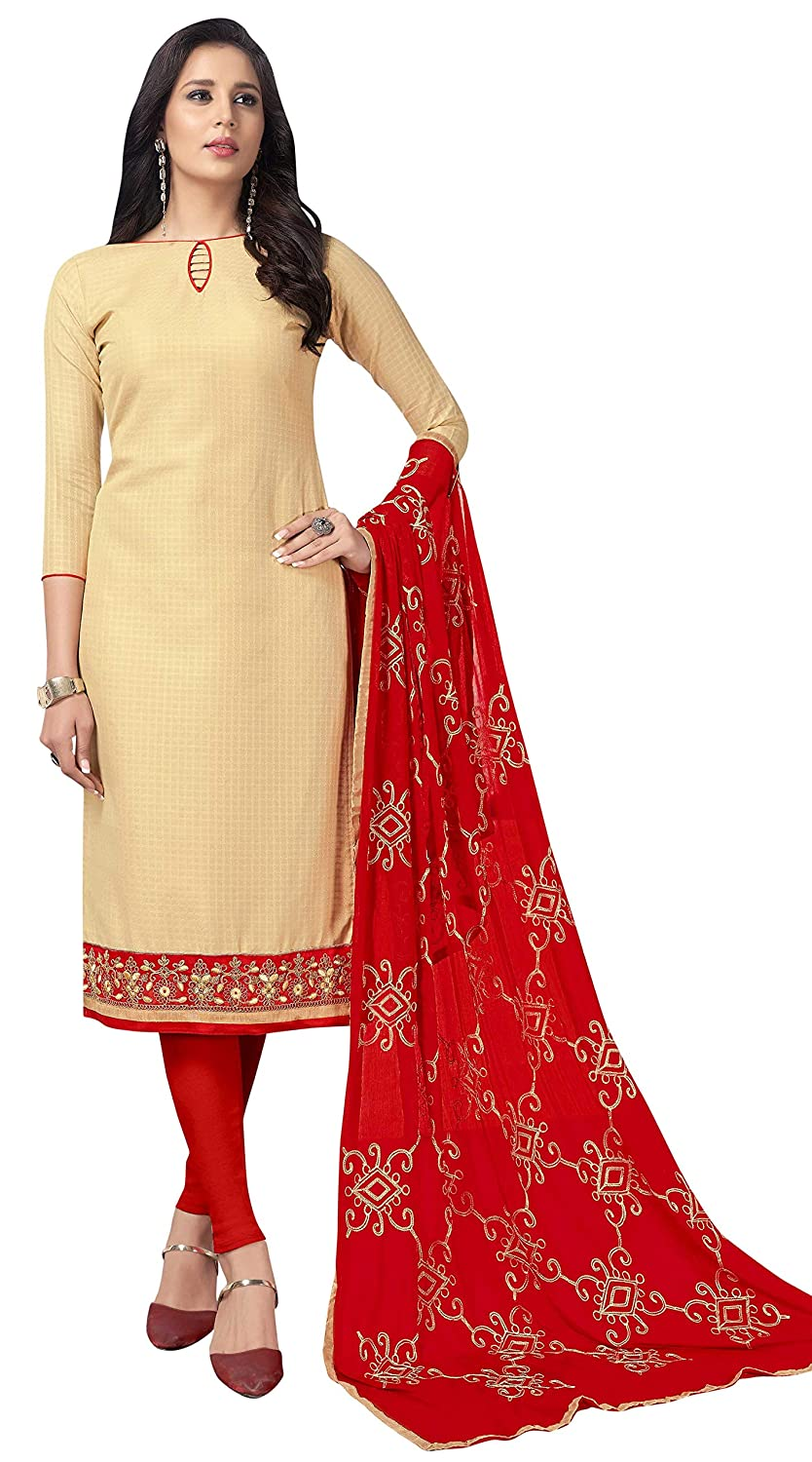 for Womens Unstitched DnVeens Cotton Embroidered Salwar Suit Dupatta Material