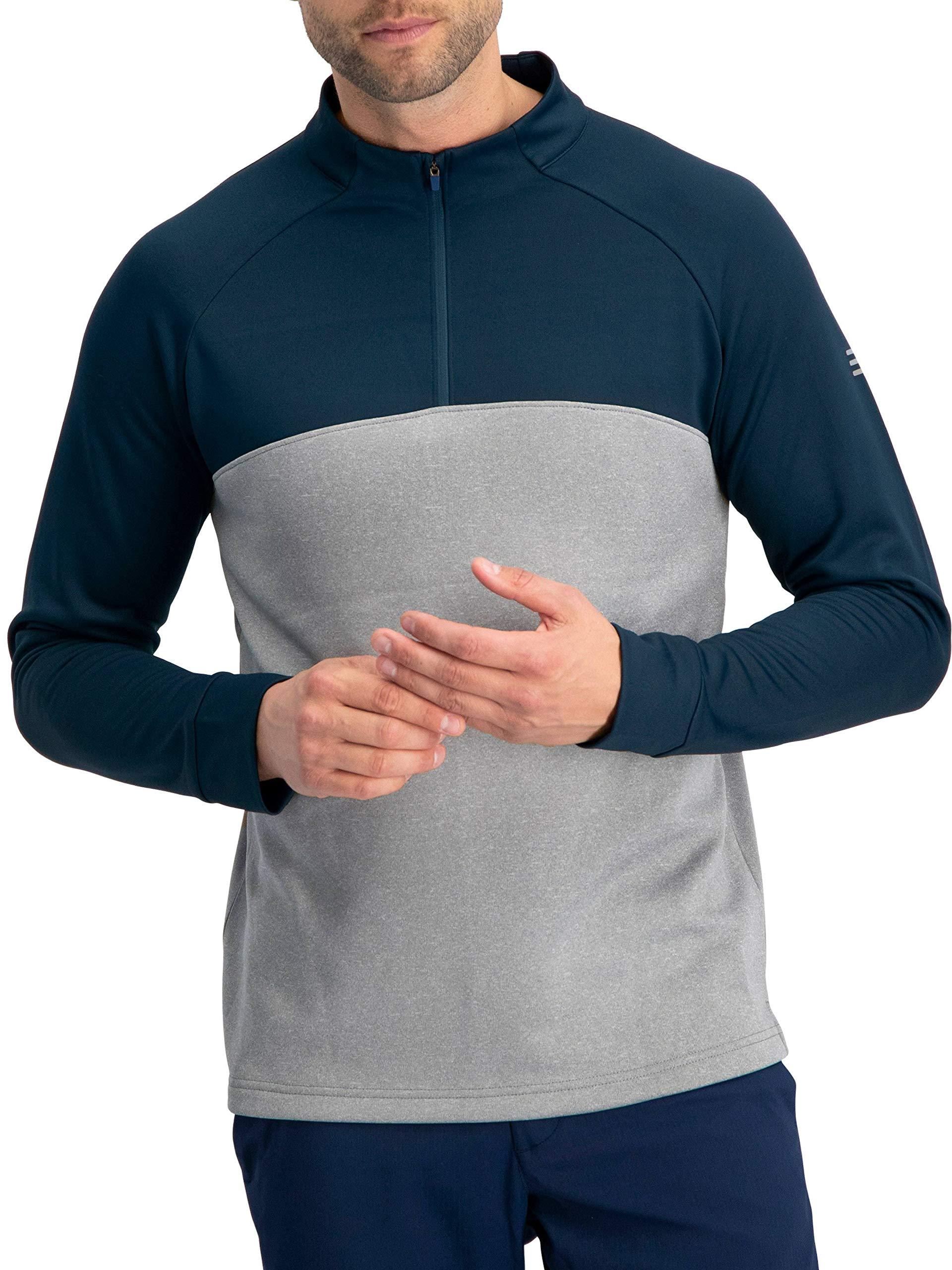 Golf Half Zip Pullover Men - Lightweight Fleece Sweater Jacket, Dry Fit Golf Shirt Deep Sea Blue
