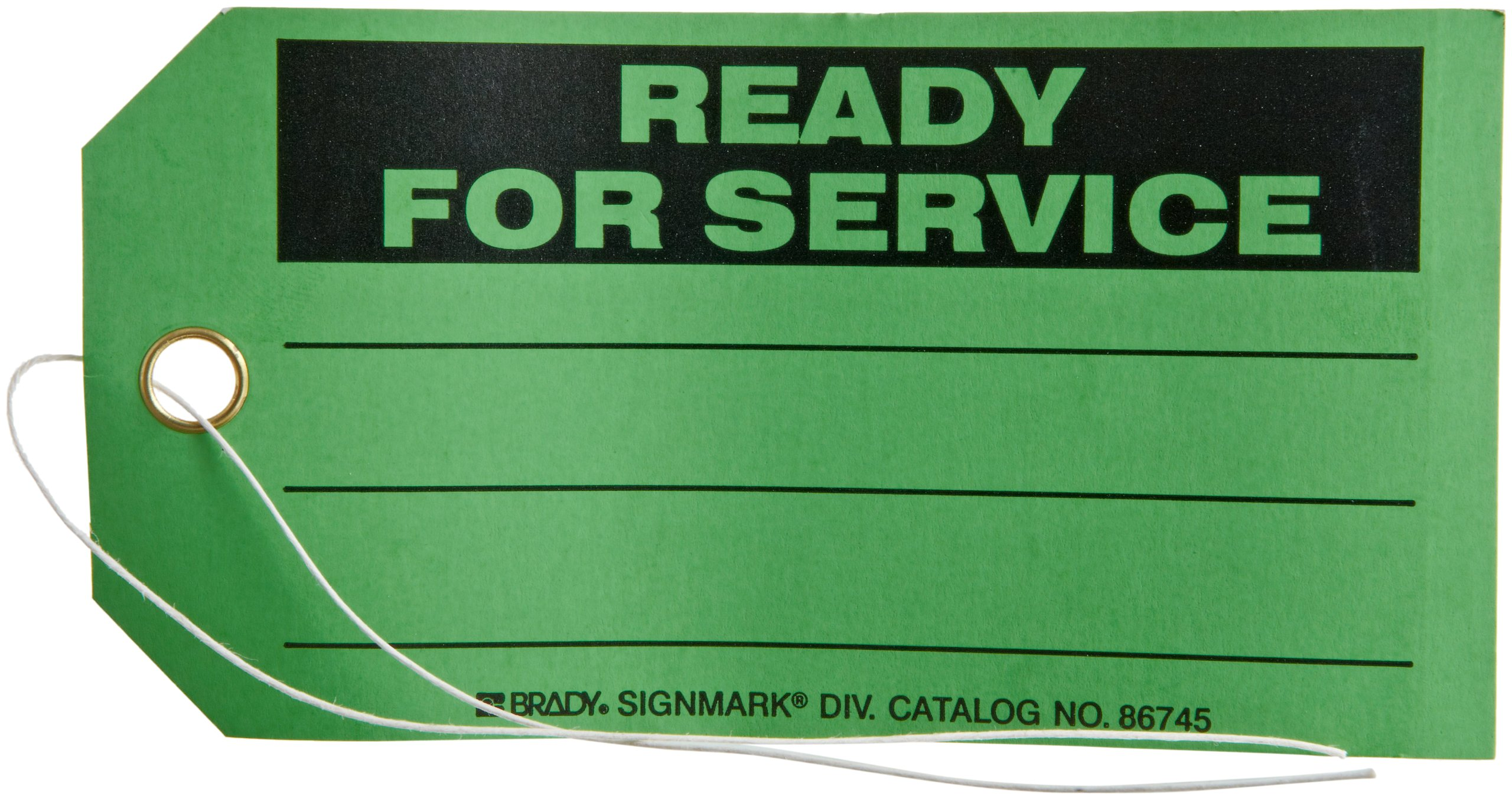 Brady 86745 5-3/4'' Height, 3'' Width, B-853 Cardstock, Black On Green Color Production Status Tag, Legend ''Ready For Service'' (Pack Of 100)