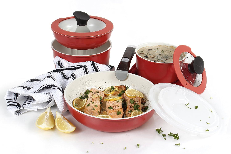 Neoflam 3 Piece Midas Plus Cast Aluminum Cookware Set with Detachable Handle Emerald Green