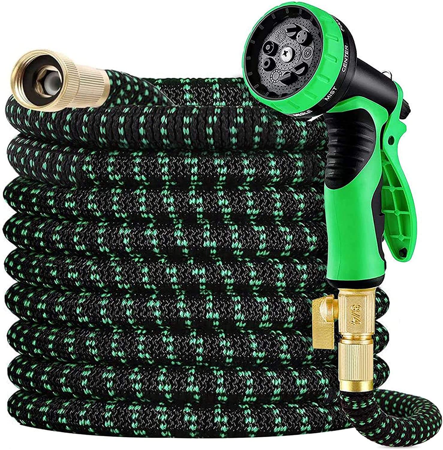 Haliluya Water Hose, Expandable Garden hose 100FT with 4-layer Latex, 3750D Polyester Fabric, 9 Function Nozzle and Durable Connectors - No Kink Flexible Garden Hose for Yard Watering Washing