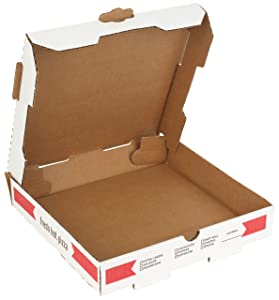 """10"""" Length x 10"""" Width x 1.75"""" Depth Corrugated B-Flute Pizza Box Keeps Pizza Fresh by MT Products (10 Pieces)"""