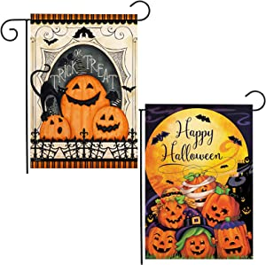 Halloween Garden Flag Decorations 2Pack Double Sided Outdoor Yard Flag 18 x 12.5 inches Pumpkins Bats Moon Castle Happy Halloween Holiday