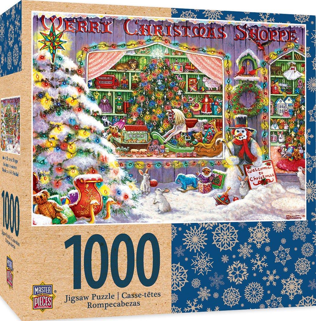 Barato Obras maestras vacaciones Merry Christmas Shop 1000 Piece Jigsaw Puzzle by Janet Kruskamp