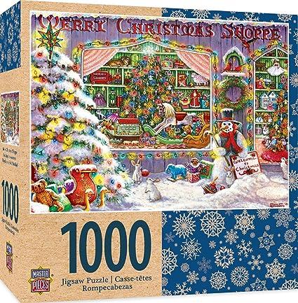 ae67e16f46a4 Amazon.com: MasterPieces Holiday Merry Christmas Shop 1000 Piece ...