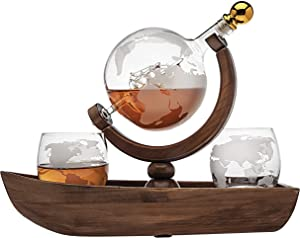 Godinger Whiskey Decanter Ship Globe Set with 2 World Whisky Glasses - for Liquor, Scotch, Bourbon, Vodka - 850ml