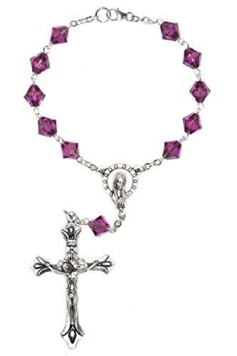 One Decade Auto Rosary made w Amethyst Purple Swarovski Crystals February – Communion, Confirmation, RCIA, Birthday more