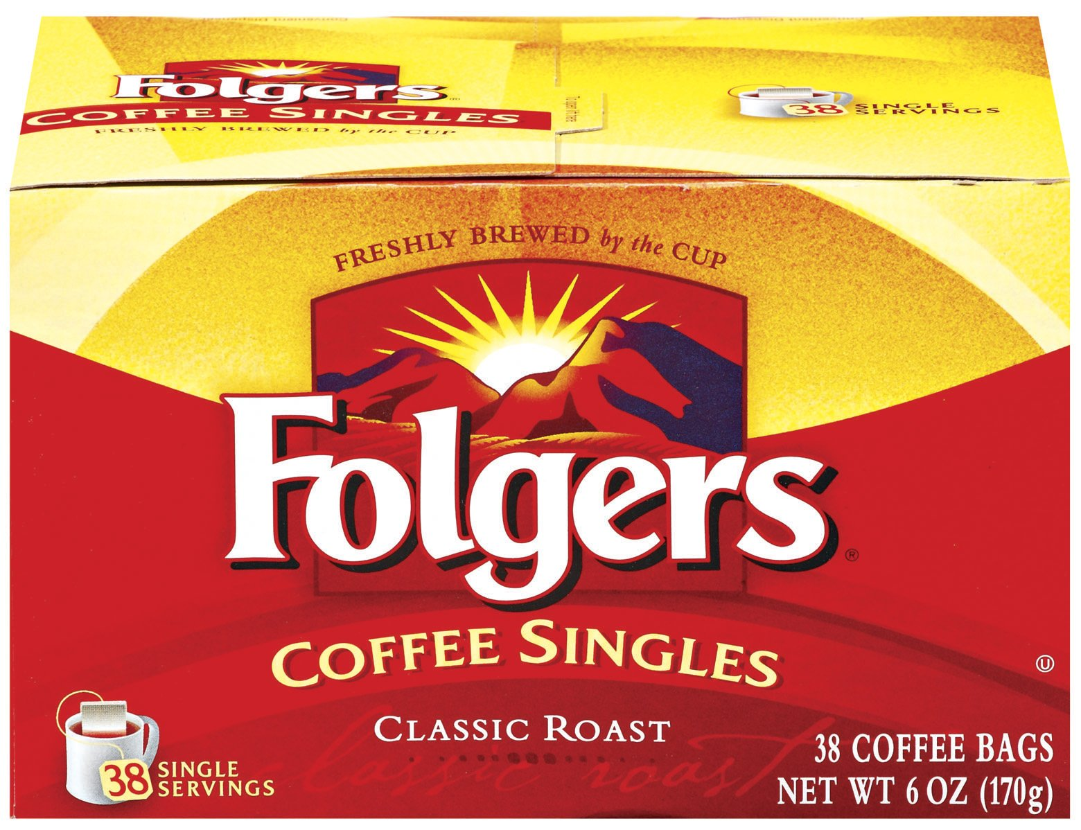 Folgers Coffee Singles Classic Roast Coffee Bags, 6 Ounce - 38 Count each (Pack of 6) by Folgers