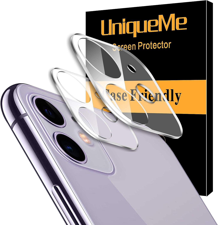 UniqueMe [2 Pack] Protector de Lente de cámara para iPhone 11 Cristal Templado, Protector de Pantalla [9H Dureza ] [Sin Burbujas] HD Film Vidrio Templado: Amazon.es: Electrónica