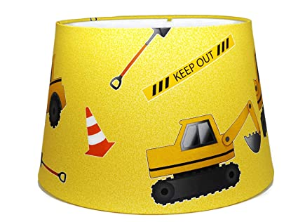 Digger construction lampshade or ceiling light shade large 13 digger construction lampshade or ceiling light shade large 13quot bedroom nursery accessories childrens boys kids mozeypictures Images