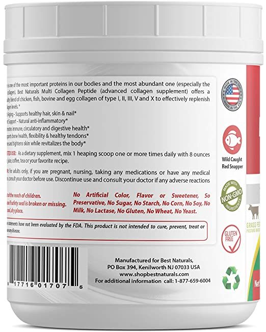 Amazon.com: Best Naturals Multiple Collagen Peptides Protein Type I, II III, V & X Collagen unflavored 1 Pound - Grass Fed & Pasture Raised - Water Soluble ...