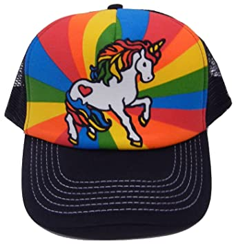 0a963af8 Image Unavailable. Image not available for. Color: Rainbow Unicorn Snapback Mesh  Trucker Cap Hat