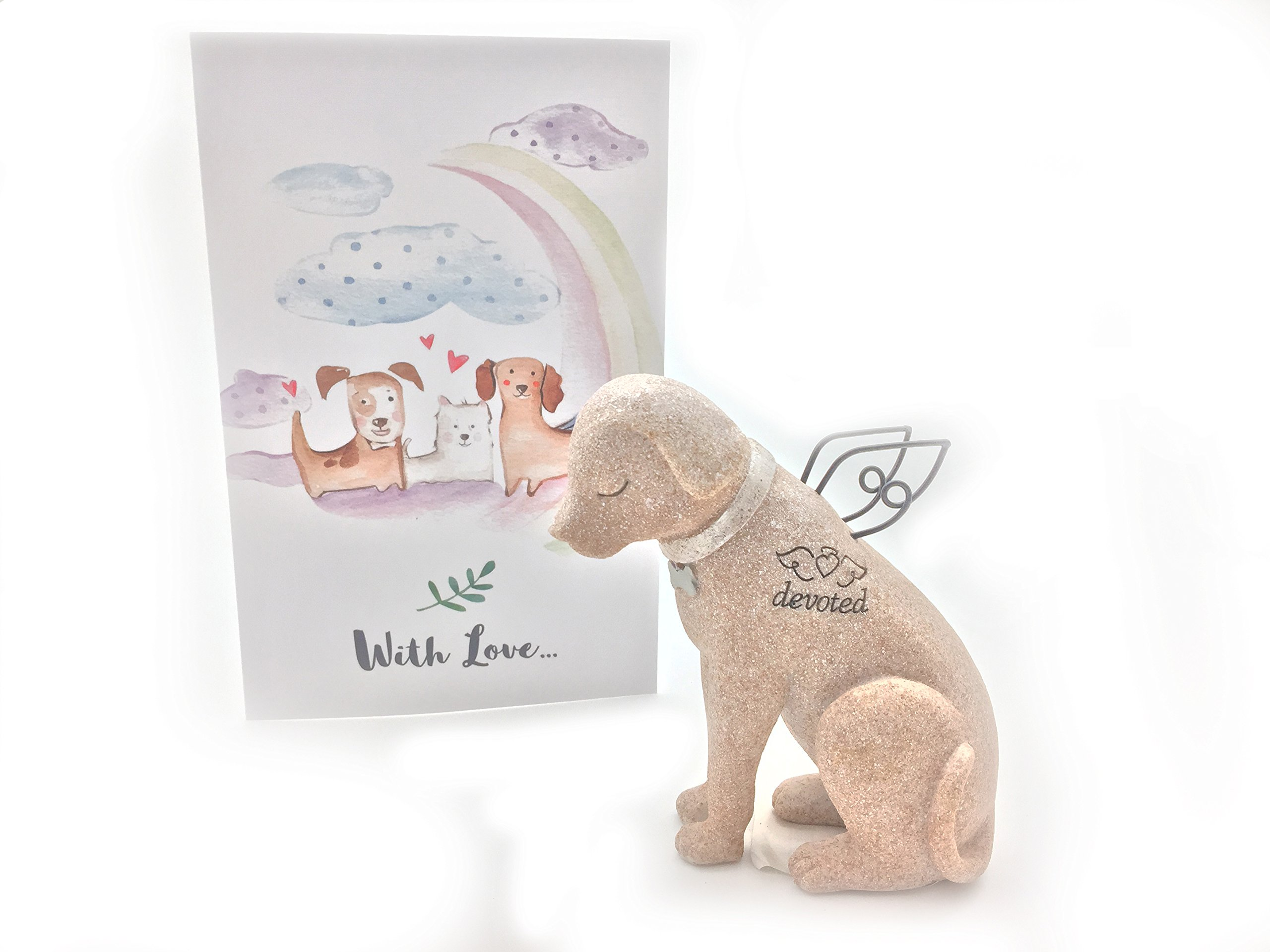 Pet Statue with Angel Wings with Loss of Pet Gifts Card Rainbow Bridge Theme Dog Pet Memorial Gifts Set