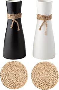 Gaby's Collection Ceramic Vase Set of 2 with Matching Hemp Rope Coasters - Black and White Vases for Decor - Rustic Flower Vase for Home Decor - Small Decorative Vases for Flowers for Living Room
