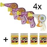 TK Gruppe Timo Klingler 4X Seifenblasenmaschine Seifenblasenpistole Seifenblasen Pistole Maschine LED Licht mit 4X Nachfüllflaschen Flüssigkeit für Kinder mit Lichtfunktion LED