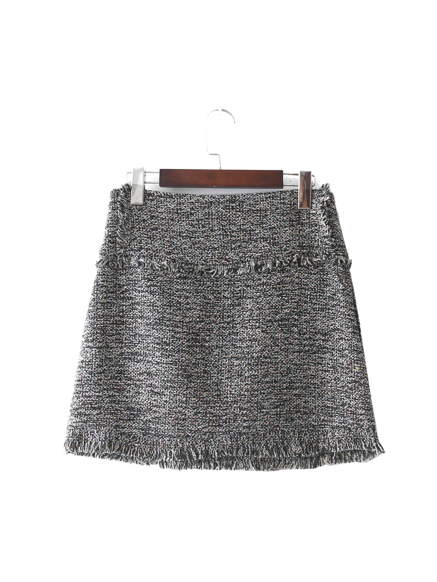 Lokouo 2018 Autumn and Winter New Style Jewelry Inlay Tweed Skirt,L