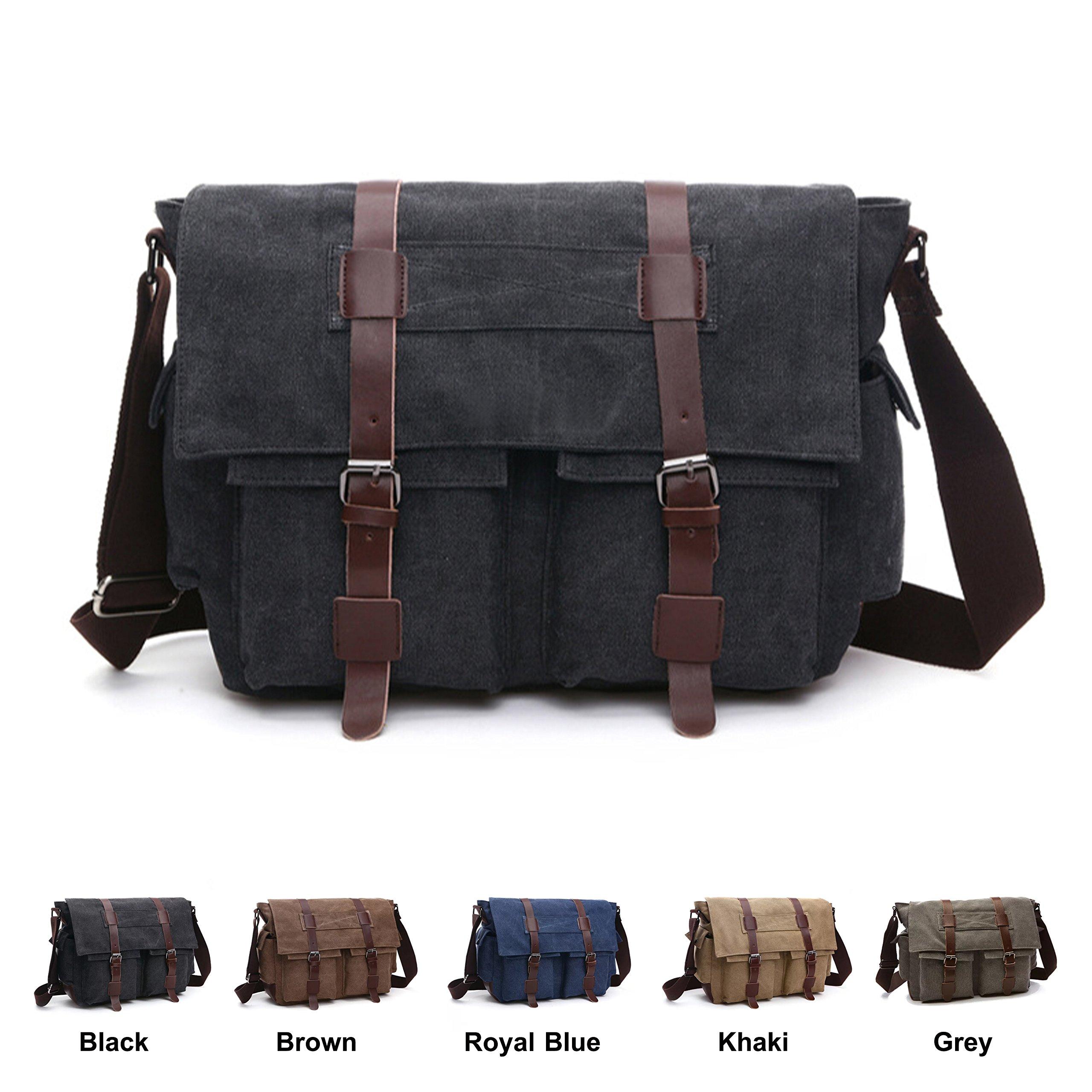 Queenie - Vintage Satchel Unisex Canvas Bag Cross Body Backpack Sling Rucksack Shoulder Bag Tote for Gym Travel Work (8168 Black)