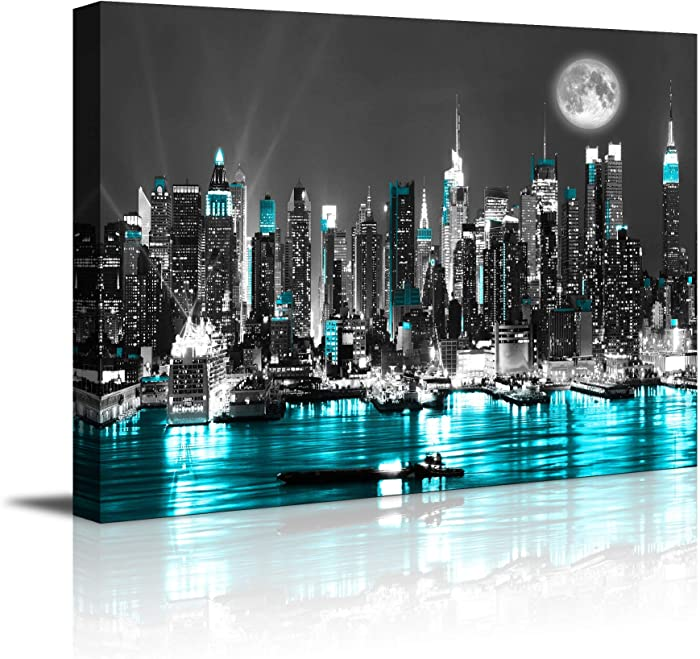 "canvas wall art blue sea New York paintings Wall Art,Black and White Stretched wall art for bedroom artwork Canvas Art Prints, 12""x16""Wall Decoration Painting bedroom wall decor Office, Ready to Hang"