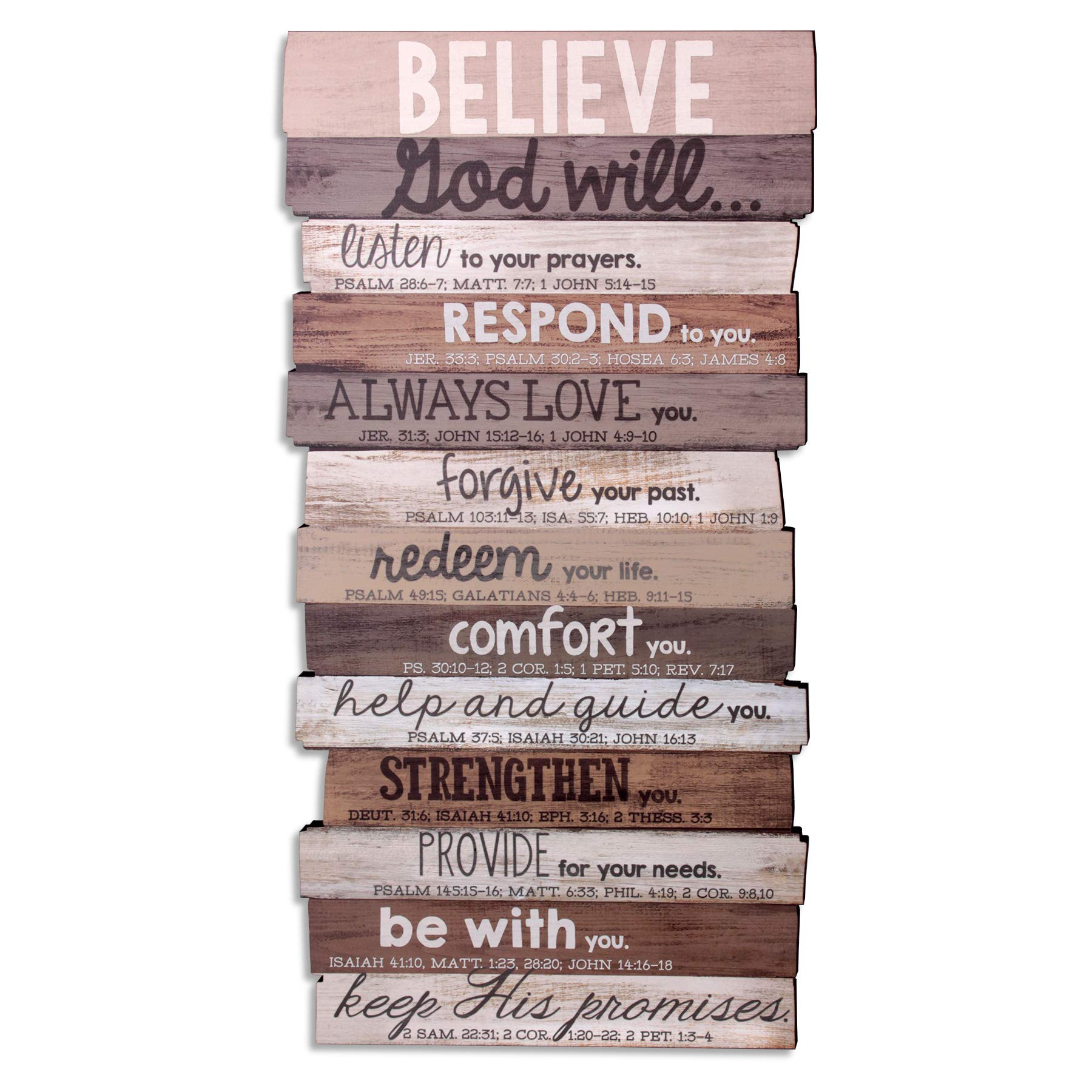 Lighthouse Christian Products Believe God Will Keep His Promises Rustic Stacked Pallet 8.5 x 16.5 Wood Plaque