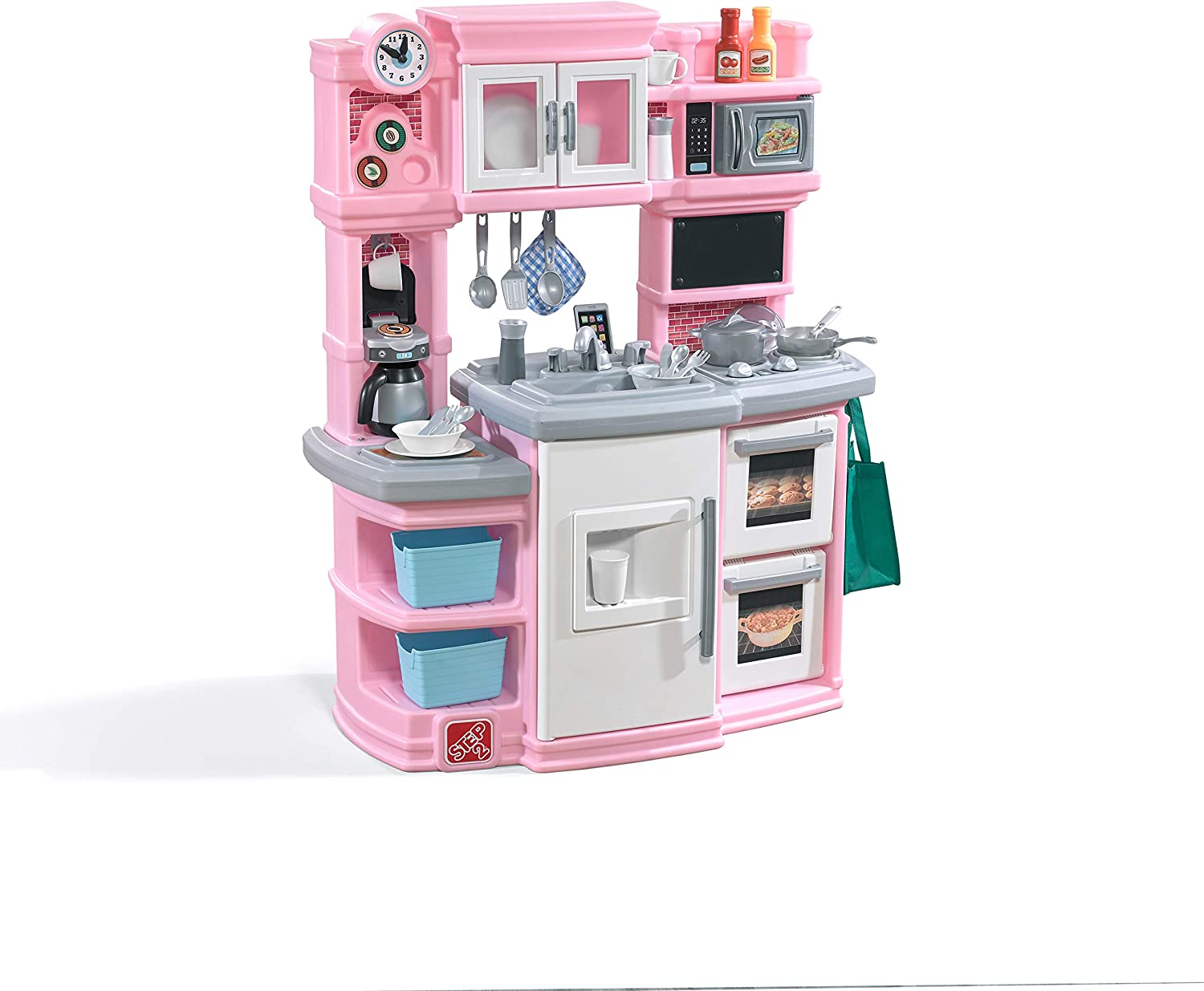 Amazon Com Step2 784200 Great Gourmet Kitchen Durable Kids Kitchen Playset With Lights Sounds Pink Plastic Play Kitchen 16 75 X 39 X 46 Inches Toys Games
