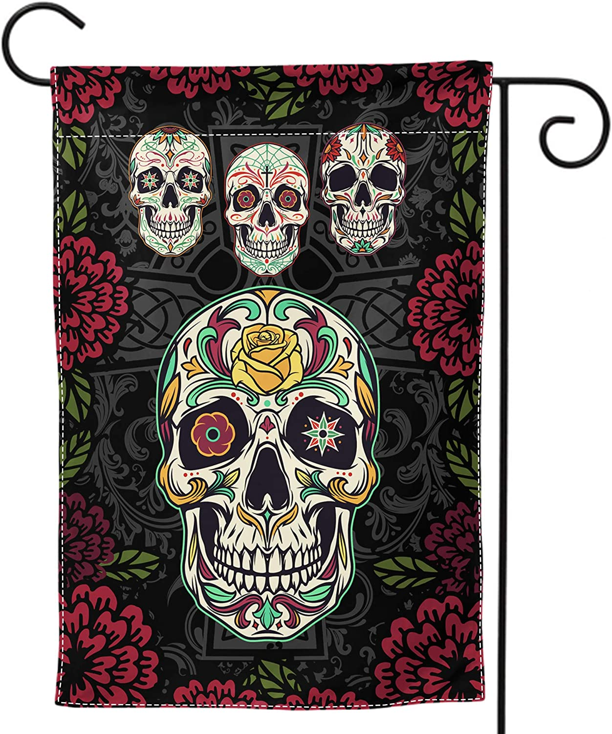 WINTERSUNNY Sugar Roes Flowers Skulls Garden Flag Double Sided Welcome Seasonal House Flags Cross Yard Signs Farm Home Outdoor Decor