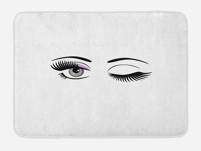 "Ambesonne Eyelash Bath Mat, Cartoon Style Dramatic Woman Eyes with Long Lashes Winking Flirting Gesture, Plush Bathroom Decor Mat with Non Slip Backing, 29.5"" X 17.5"", Black Lilac"