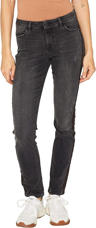 edc by ESPRIT Damen Slim Jeans Schwarz (Black Medium Wash 912)