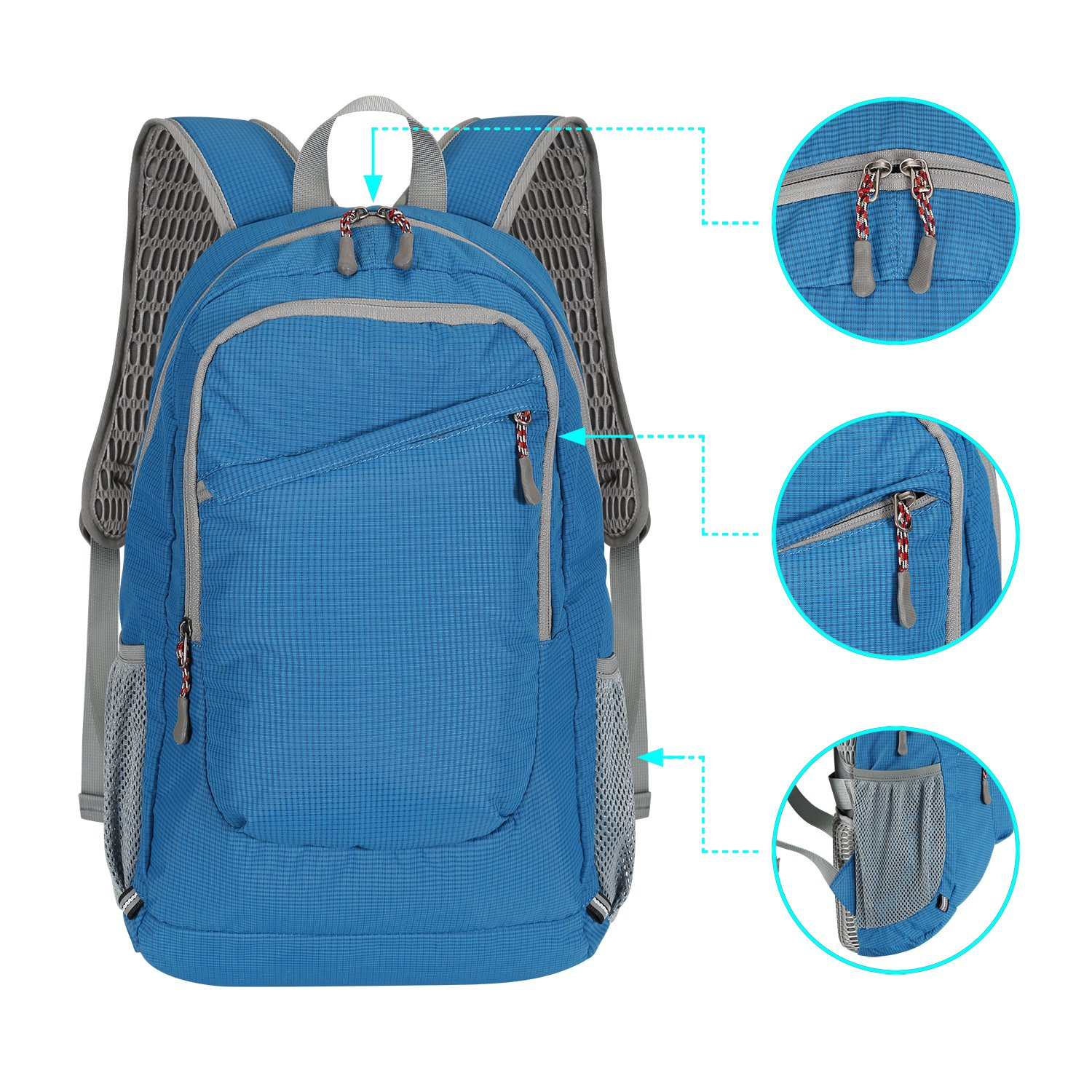 ibagbar Lightweight Travel Backpack Hiking Backpack Water Resistant Casual Multipurpose Daypack for Men and Women Blue