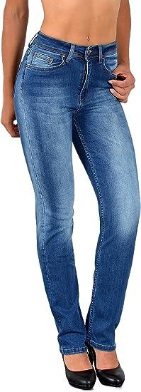 ESRA Damen Jeans Hose Damen Jeanshose gerader Schnitt Straight Fit bis /Übergr/ö/ße G100