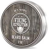 Viking Revolution Beard Balm - All Natural Grooming Treatment with Argan Oil & Mango Butter - Strengthens & Softens…